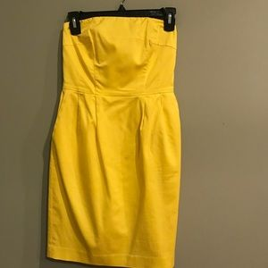 Express Mini Yellow Strapless Dress
